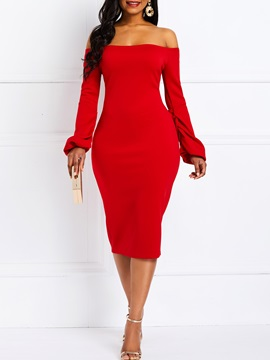 Long Sleeve Knee-Length Plain Pullover Women's Bodycon Dress