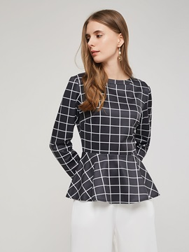 Zipper Plaid Peplum Gradient Long Sleeve Women's Blouse
