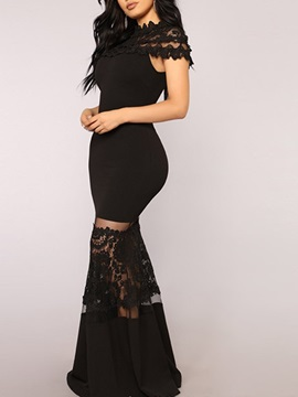 Sleeveless Floor-Length Lace Plain Women's Maxi Dress
