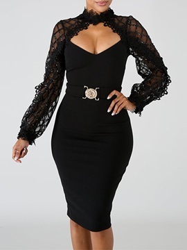Lace Long Sleeve Knee-Length Plain Women's Bodycon Dress