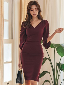 Knee-Length Button Regular Fall Women's Bodycon Dress