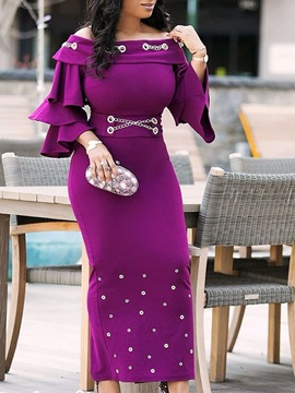 Slash Neck Off-The-Shoulder High-Waist Rivet Women's Bodycon Dress