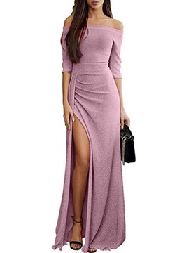 Floor-Length Half Sleeve Split Pullover Elegant Women's Maxi Dress