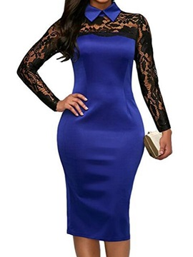 Knee-Length Lapel Long Sleeve Zipper Women's Bodycon Dress