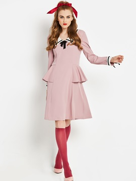 Long Sleeve Knee-Length A-Line Zipper Women's Dress