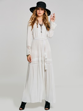 Ankle-Length Button V-Neck Plain Expansion Women's Maxi Dress