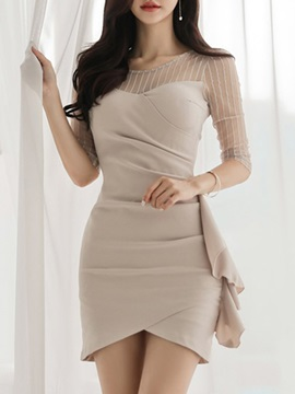 Half Sleeve Patchwork Round Neck Korean Pullover Women's Bodycon Dress