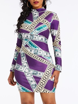Long Sleeve Print Turtleneck Color Block Women's Bodycon Dress