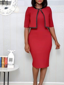 Half Sleeve Round Neck Knee-Length Casual Plain Women's Bodycon Dress