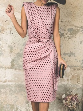 Knee-Length Sleeveless Polka Dots Polyester Women's Bodycon Dress