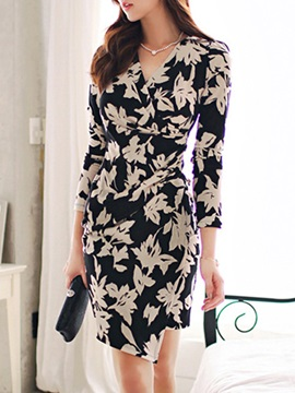 Knee-Length V-Neck Plant Spring Pullover Women's Bodycon Dress