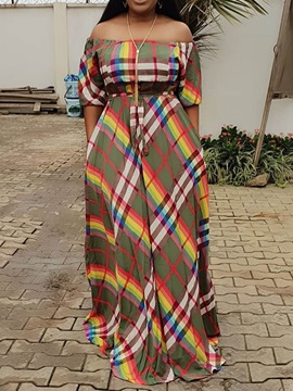 Half Sleeve Print Off-The-Shoulder Plaid Women's Maxi Dress