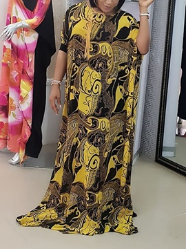 Floor-Length Print Expansion Pullover Women's Maxi Dress