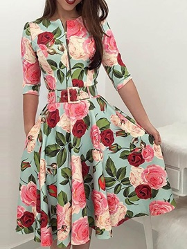 Mid-Calf Half Sleeve Print Floral Pullover Women's Dress