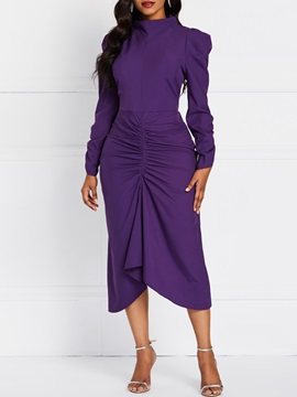 Long Sleeve Pleated Casual Asymmetrical Women's Maxi Dress
