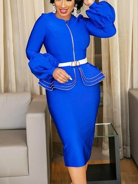 Long Sleeve Patchwork Office Lady Plain Women's Bodycon Dress