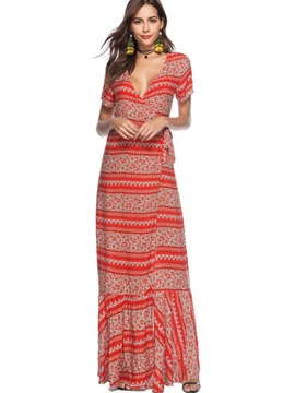 Floor-Length Short Sleeve V-Neck Bohemian Women's Maxi Dress