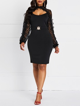 Mid-Calf Lace Long Sleeve Sexy Fall Women's Dress