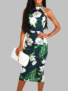 Mid-Calf Sleeveless High Waist Floral Women's Bodycon Dress