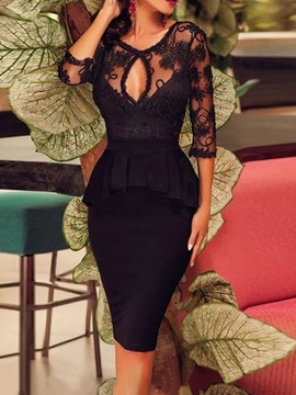 Knee-Length Three-Quarter Sleeve Lace Women's Bodycon Dress