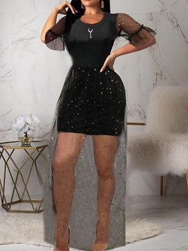 Above Knee Round Neck Half Sleeve Mesh Women's Bodycon Dress