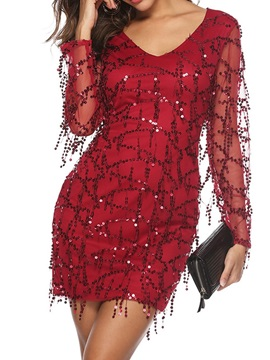 See-Through V-Neck Long Sleeve Pullover Summer Women's Dress