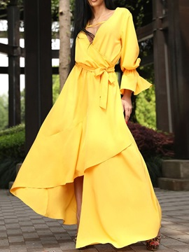 Ankle-Length Pleated V-Neck Flare Sleeve Women's Maxi Dress