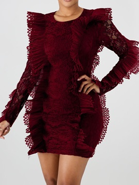 Above Knee Long Sleeve Lace Women's Bodycon Dress