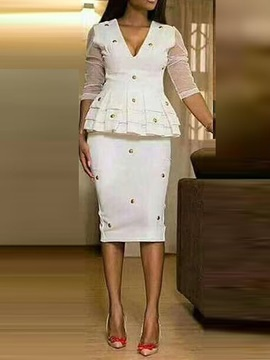 Knee-Length Bead Long Sleeve Women's Bodycon Dress
