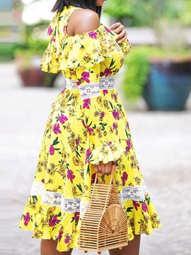 Print Mid-Calf Long Sleeve Off-The-Shoulder Pullover Women's Dress