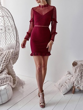 Above Knee Long Sleeve Mid Waist Turtleneck Women's Bodycon Dress