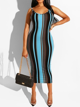 Mid-Calf Sleeveless Print Spaghetti Strap Pencil Women's Dress