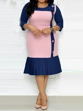 Mid-Calf 3/4 Sleeve Button Plus Size Women's Pleated Dress