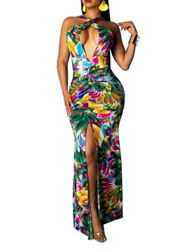 Sleeveless Split Floor-Length Bodycon Regular Women's Dress