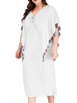 V-Neck Mid-Calf Short Sleeve Travel Look Batwing Sleeve Women's Dress