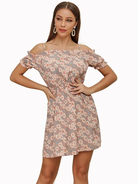Off Shoulder Above Knee Floral Pullover Women's A-Line Dress