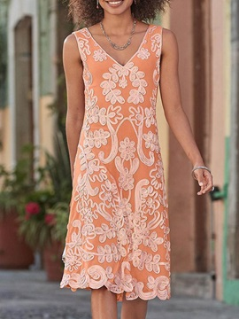 V-Neck Embroidery Knee-Length A-Line Floral Women's Dress
