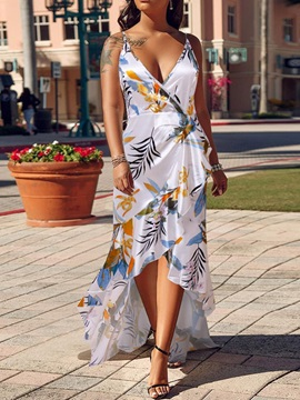 V-Neck Print Floor-Length Spaghetti Strap Women's Dress
