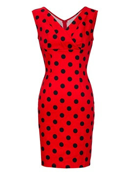 Above Knee Sleeveless V-Neck Polka Dots Women's Bodycon Dress