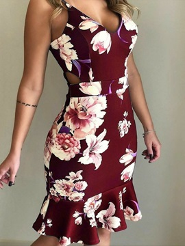 Knee-Length Spaghetti Strap V-Neck Floral Women's Bodycon Dress