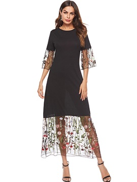 Ankle-Length Patchwork 3/4 Sleeve Floral Women's A-Line Dress