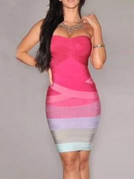 Above Knee Patchwork Sleeveless Mid Waist Women's Bodycon Dress