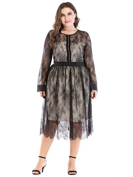 Mid-Calf Round Neck Lace Pullover Women's Dress
