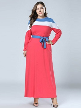 Lace-Up Ankle-Length Long Sleeve Color Block Women's Dress