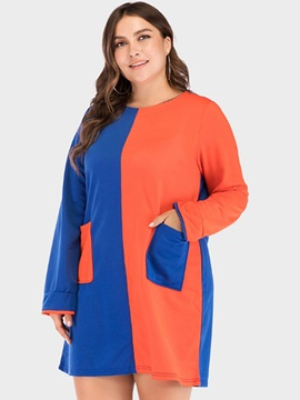 Pocket Round Neck Long Sleeve Color Block Straight Women's Dress