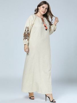 Floor-Length Long Sleeve Round Neck Pullover Floral Women's Dress