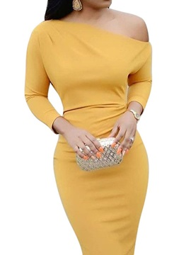 3/4 Sleeve Knee-Length Oblique Collar Pullover Women's Dress