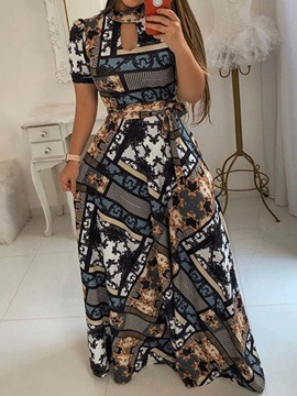 Print Floor-Length A-Line Pullover Women's Maxi Dress