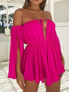 Lace-Up Off Shoulder Above Knee Women's Dress