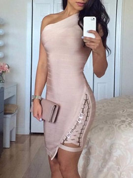 Above Knee Asymmetric Sleeveless Women's Bodycon Dress